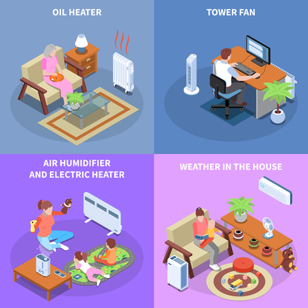 Climate control 2x2 design concept with home equipment used for establishing comfortable weather in house isometric vector illustration Illustration