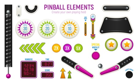 Isolated and colored pinball horizontal icon set with different elements of deck vector illustration