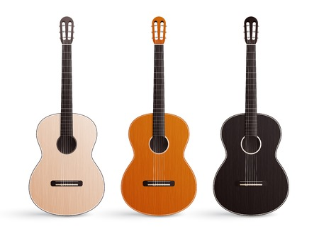 Realistic set of three classic wooden acoustic guitars with nylon strings isolated on white background vector illustration Иллюстрация