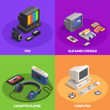 Colorful 2x2 isometric design concept with various retro gadgets such as computer player console vhs 3d isolated vector illustration