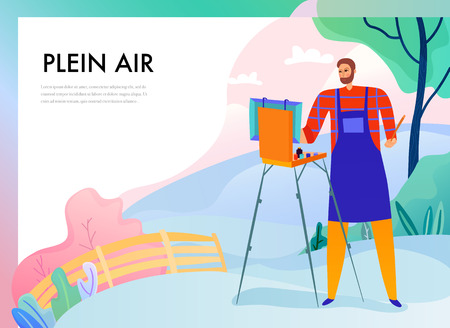Artist with easel during plein air painting on nature background flat vector illustration Illustration