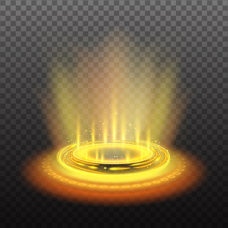 Realistic circular magic portal with yellow light streams and sparkles on dark transparent background vector illustration