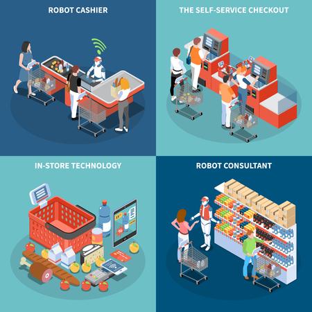 Concept de conception de technologie de magasin 2x2 avec robot consultant robot caissier libre-service caisse icônes carrées illustration vectorielle isométrique