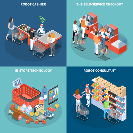 Shop technology 2x2 design concept with robot consultant robot cashier self service checkout square icons isometric vector illustration