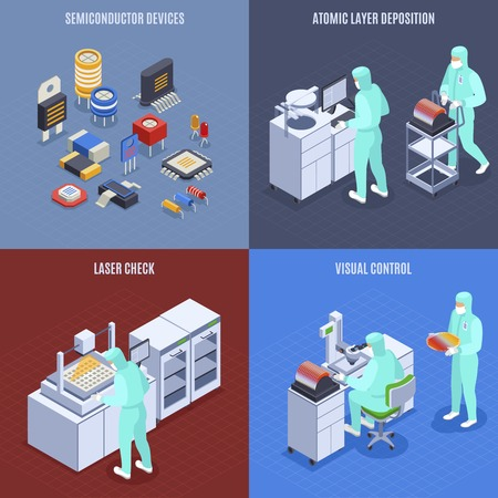 Semicondoctor production concept icons set with laser check symbols isometric isolated vector illustration