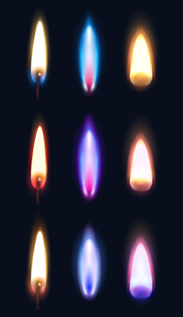 Realistic flames of various shape and color of matches lighters and candles dark background isolated vector illustration Çizim