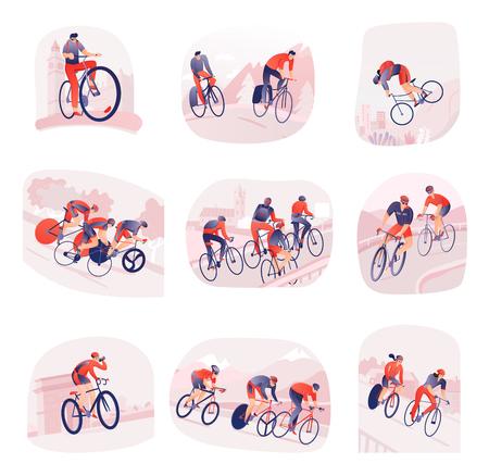 Set composities met fietsers tijdens fietstocht op de achtergrond van de stad of de natuur geïsoleerde vectorillustratie