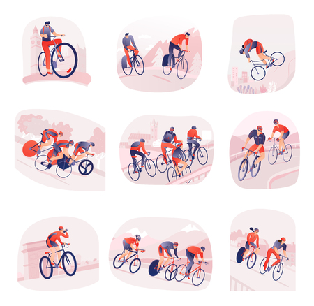 Set of compositions with bicyclists during cycling tour on background of city or nature isolated vector illustration