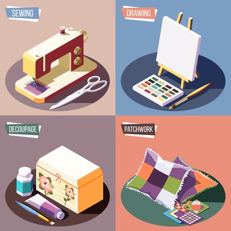 Hobby crafts isometric colorful 2x2 design concept with sewing drawing decoupage and patchwork 3d isolated vector illustration