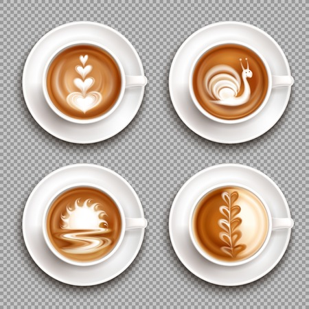 Four latte art top view icon set with white art compositions on the top vector illustration