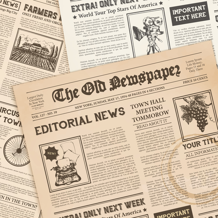 Old newspaper pages with coffee ring stain on editorial news realistic vintage composition background poster vector illustration