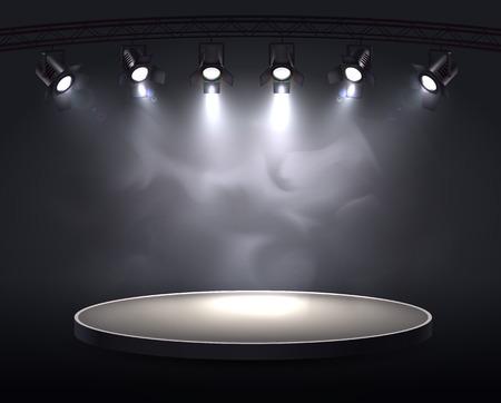 Rzutuje realistyczną kompozycję z okrągłą fabułą podkreśloną sześcioma punktowymi światłami rzucającymi jasne światło przez ilustrację wektorową dymu