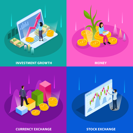 Stock exchange isometric icon set with investment growth money currency and stock exchange descriptions vector illustration Illustration