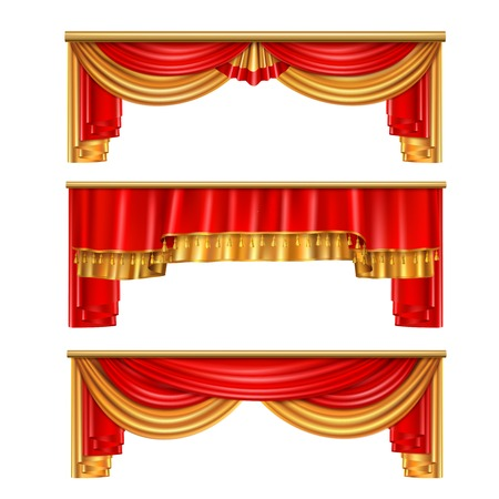 Luxury curtains realistic composition with red and gold colors for theater interior vector illustration Ilustração