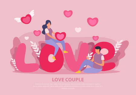 Love couple flat background with big pink headline with abstract elements and two people vector illustration 向量圖像