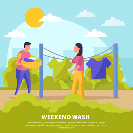 Flat colored lazy weekends people composition with weekend wash man and woman hang laundry vector illustration Ilustrace