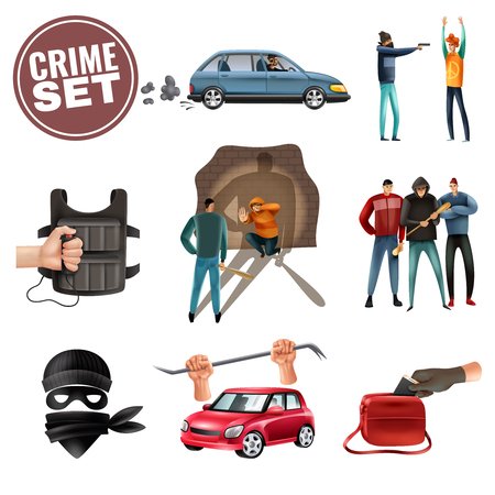 Social crime violence aggression colorful icons set with car theft threatening weapon intimidation robbery isolated vector illustration Foto de archivo - 116679633