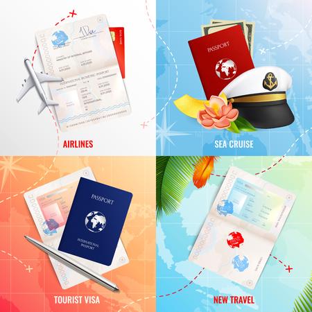 Viaggia in aereo e in mare 2x2 concetto di design pubblicitario con modelli di passaporto biometrico e icone realistiche di bollo di visto illustrazione vettoriale