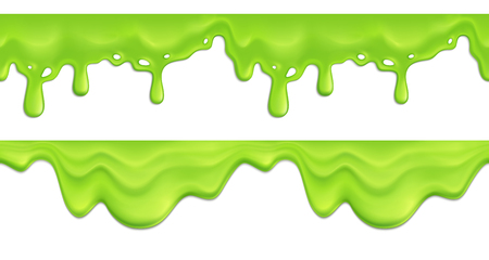 Realistic seamless pattern with green melting slime drips on white background vector illustration