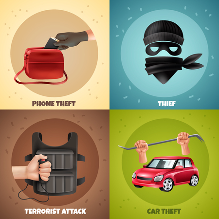 Social crime concept 4 colorful backgrounds icons square design with terrorist attack robbery theft symbols vector illustration