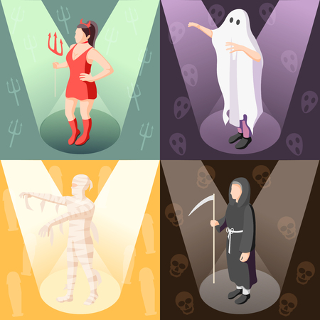Colorful isometric 2x2 design concept with people wearing scary cosplay costumes of mummy demon ghost death 3d isolated vector illustration