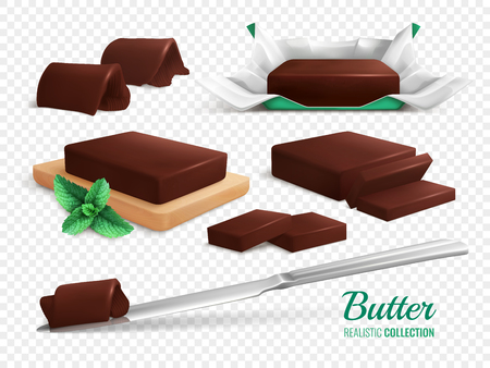 Slices rolls and sticks of delicious chocolate butter realistic set isolated on transparent background vector illustration Ilustracja