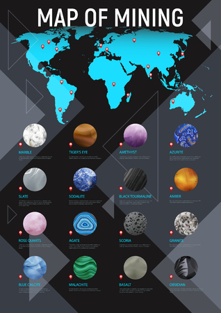Realistic stone map mining poster with map of mining headline and different round stone icon set vector illustration Ilustração