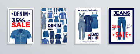 Set of advertising posters and banners with denim clothing on white background isolated vector illustration