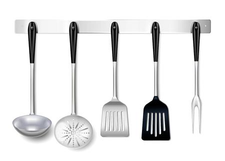 Kitchen tools utensils metal hanging rack closeup realistic image with ladle spatula skimmer cooking fork vector illustration Illustration