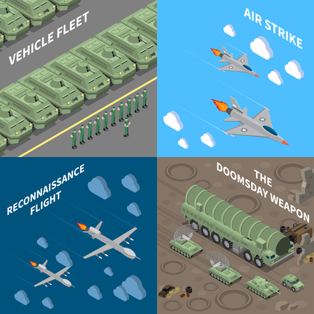Military vehicles 2x2 design concept set of  vehicle fleet reconnaissance flight air strike doomsday weapon square icons isometric vector illustration