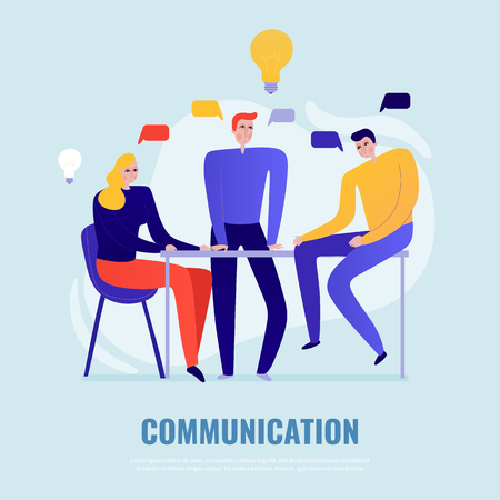 Teamwork concept with people brainstorming and sharing ideas flat vector illustration Çizim