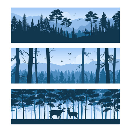 Set of horizontal banners realistic forest landscapes with deers and birds in sky isolated vector illustration
