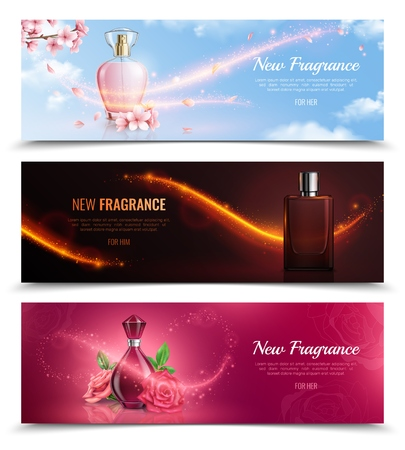New fragrance horizontal cosmetics banners with bottles of perfume and effect of magic flying glitters realistic vector illustration