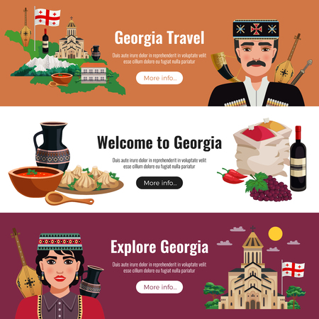 Georgia travel flat horizontal banners website design with national culture traditions food wine landmarks nature vector illustration