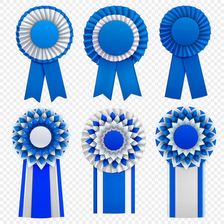 Blue decorative medal awards circulair rosettes badges lapel pins with ribbons realistic set transparent background vector illustration