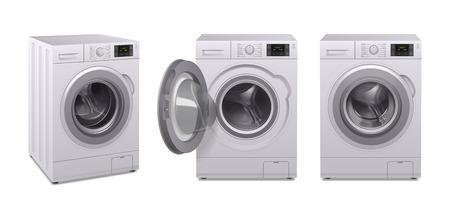 L'icône réaliste de la machine à laver a défini trois produits d'appareils ménagers dans une illustration vectorielle de position différente Vecteurs