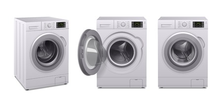 Realistische Ikone der Waschmaschine stellte drei Produkte von Haushaltsgeräten in unterschiedlicher Positionsvektorillustration ein Vektorgrafik