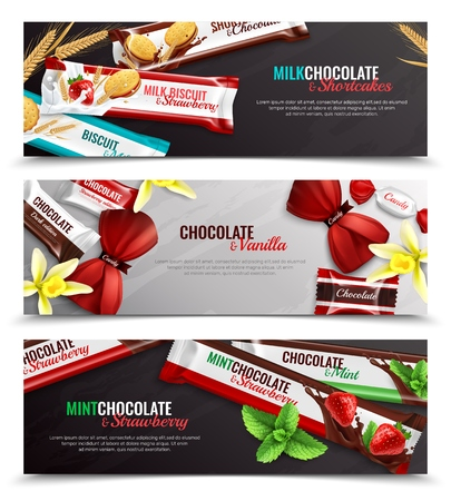 Chocolate candies and biscuits packaging with vanilla strawberry mint flavor 3 realistic horizontal banners isolated vector illustration