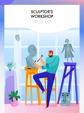 Sculpture master with professional tools during statue making in workshop flat vector illustration 일러스트