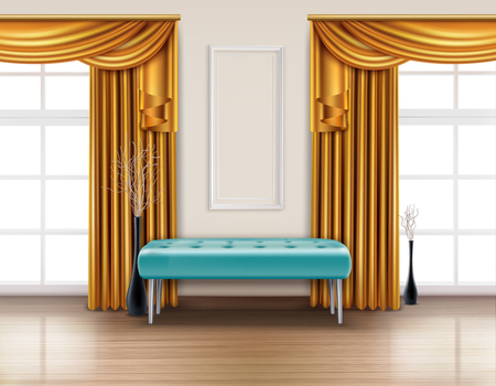 Colored luxury curtains realistic interior with golden curtain and blue soft bench vector illustration