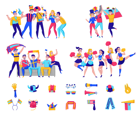 Fans cheering team icon set with groups of people and football attributes cheering for the team vector illustration