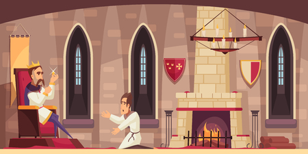 Medieval castle hall interior with king on throne holding stolen treasure and kneeling servant cartoon vector illustration