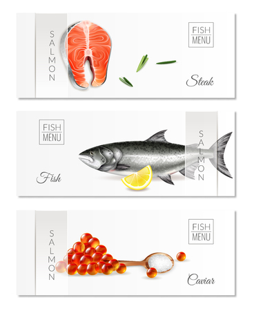 Realistic set of three horizontal banners with fish menu salmon steaks and caviar isolated vector illustration Illustration