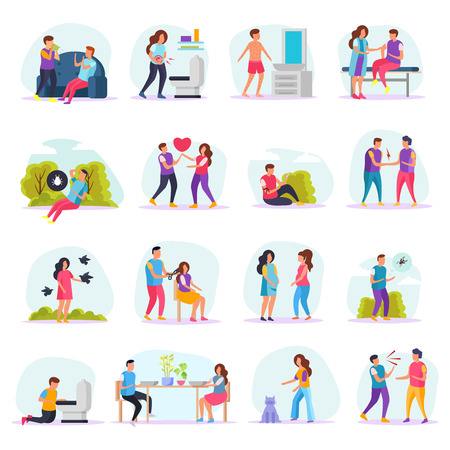 Diseases transmission ways flat icons set with people communicating with sick or insects or in barbershop vector illustration