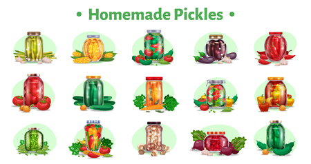 Pickles horizontal set of fifteen isolated images with marinated vegetables in glass jars with ripe fruits vector illustration