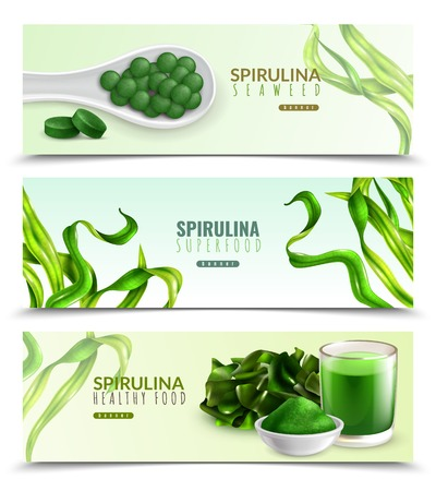 Spirulina supplement healthy food 3 realistic horizontal banners with natural seaweeds powder drink pills tablets vector illustration