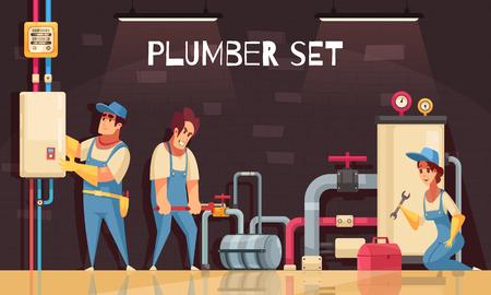 Equipo de fontaneros que arregla fugas en la composición de dibujos animados de la sala de calderas con la ilustración de vector de medidor de gas de caja de kit de herramientas