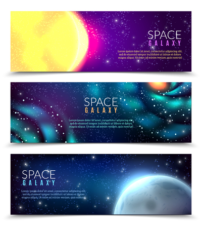 Space stars constellations spiral galaxies  planets 3 horizontal colorful astronomical banners with night sky background vector illustration