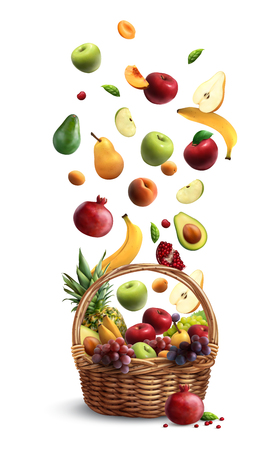 Ripe fruits falling in traditional wicker basket with handle realistic composition with pear banana apple vector illustration