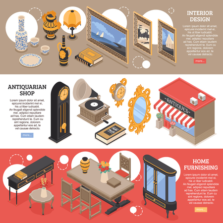 Antiquarian isometric horizontal banners with home furnishings and vintage items for interior design vector illustration